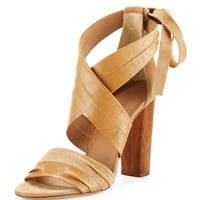 Beatrice Leather & Suede Wrap Sandal, Sand