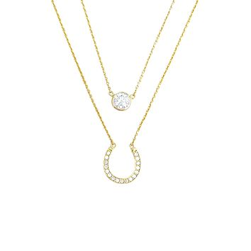 Horseshoe and solitaire Necklace Set