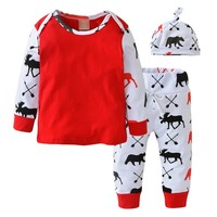 Newborn Baby Girl Boy Clothes Cartoon Printed Long Sleeve Tops T-shirt+Pants+Hat Toddler 3pcs Outfits Set Kids Clothing