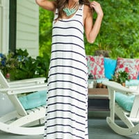 Go Sea The World Maxi Dress, White-Black