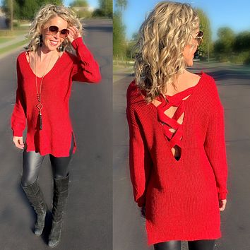 Open Criss Cross Back Sweater - Red