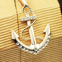A 082613 18K Color Gold Anchor Necklace