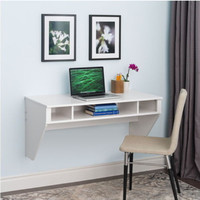 Floating Desk Three Cubby Holes Contemporary Home Office Furniture White Finish