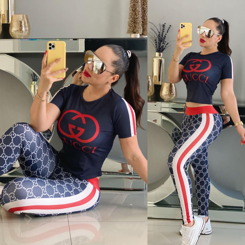 Image of GG Women Short sleeves Print Top Pants trousersTwo-Piece