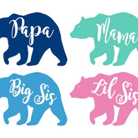 Family Bear Decal Set - Papa Bear, Mama Bear, Big Sis, Lil Sis, YETI stickers, car stickers, tumbler decals, family bears