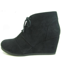 Rex Wedge Suede Ankle Boots : Black