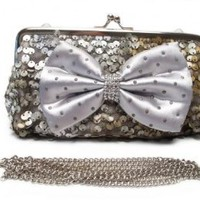 Women's Two Tones Sequins Clutch with Bow Accent - Grey & Tan