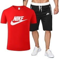 NIKE Fashion Men Casual Print Shirt Top Tee Shorts Set Two-Piece Red