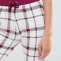 New Look Soft Plum Check Pajama Jogger at asos.com