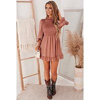 Boho Bombshell Smocked Mini Dress (Rose Gold)