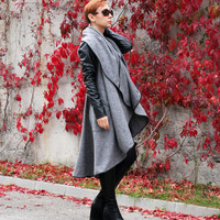 Winter jaket, Coat, Long coat, Wool coat, Grey coat, Asymmetric coat, Designer jacket by CARAMELfs T12216