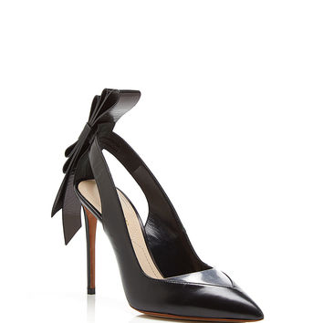 Black Leather and Clear PVC Origami Back Bow Pointed Toe Pump