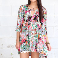 Fallen For You Floral Keyhole Tunic {Pink Mix}