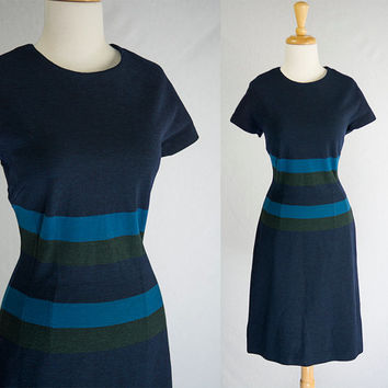 Vintage 60s Pinup Navy Wool Shift Dress Mod Stripes