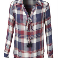 LE3NO Womens Plaid Roll Up Sleeve Lace Up Front Tunic Shirt Top