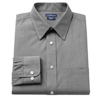 Croft & Barrow Fitted Mini-Striped Broadcloth Point-Collar Dress Shirt - Men, Size: