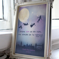 Peter Pan 'Second star to the right, and straight on til morning' Unisex Nursery art