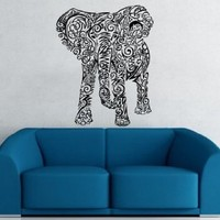 Animal Elephant Patterns Art Indian Design Wall Vinyl Decal Art Sticker Home Modern Stylish Interior Decor for Any Room Smooth and Flat Surfaces Housewares Murals Design Graphic Bedroom Living Room (4136)