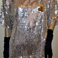 Vintage 80s M L Glam Sparkling Pink shiny Slouchy 100% Silk Trophy Glitter Sequin Evening Blouse Top shirt