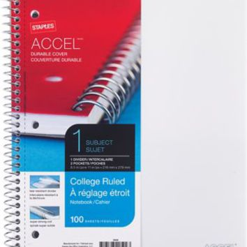 Staples Accel Durable Poly Cover 1 Subject Notebook College Ruled 8 1 2 x 11 White 25539M | Staples
