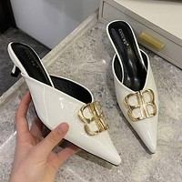 Balenciaga sandals women's outer wear half-pull patent leather mid-heel red pointed toe stiletto shoes slippers