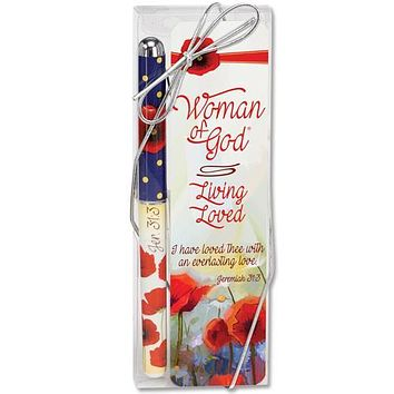 Woman of God Living Loved Poppies Pen and Bookmark Gift Set
