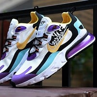 NIKE AIR MAX 270 REACT joint foam air cushion sports casual running shoes Purple