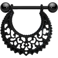 Black Artistic Swirls Nipple Shield | Body Candy Body Jewelry