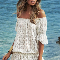 White Ruched Off Shoulder Mini Lace Dress