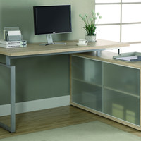 "Natural Reclaimed-Look ""L"" Shaped Desk with Frosted Glass"