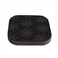 "KESS Original ""Spiderwebs - Black"" Coasters (Set of 4)"