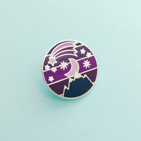 Night Sky Enamel Pin Badge - Ombre Pin, Purple Lapel Pin, Starry Sky