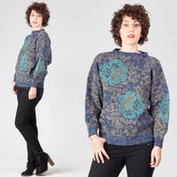 80s Floral Novelty Sweater / Blue & Brown Long Sleeve Jumper / Flower Mottled Speckled Medium M Sweater