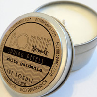 The Bondle: 6 oz Spring Petals Soy Candle flavored with White Gardenia in a Seamless Travel Tin