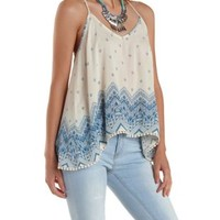 Ivory Combo Border Print Strappy Swing Tank Top by Charlotte Russe