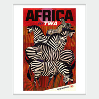 Africa TWA Airline Travel Poster Print