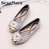 Europe Flat Shoes Woman Ballerina Flats 2016 Autumn Womens Flats Shoes Embroider Plaid Bow Metal Round Toe Women Shoes (35-42)