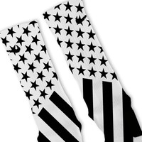 Combat Stars And Stripes Black White Custom Nike Elite Socks