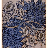 William Morris Tulips and Willows Design Sketch Counted Cross Stitch Pattern