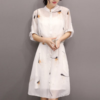 Spring Women Fashion Dresses New Korea Casual Slim 3/4Sleeve Shirtdress Women Stand Collar Chiffon Long Dresses Female 8061