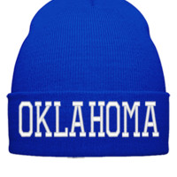 OKLAHOMA EMBROIDERY HAT - Beanie Cuffed Knit Cap
