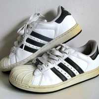 Vintage 1980s Adidas Sneakers White Black Stripe Hip Hop Rap Shell Toe Trainers 6 FREE SHIP Cda and Usa