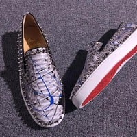 KUYOU Christian Louboutin low tops CL fashion casual shoes red sole for men and women sneakers 90522