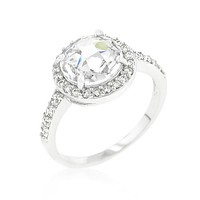 Lucetta 3ct Round Faceted Engagement Ring | 4ct