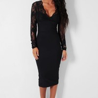 Ariana LUXE Black Lace Panel Bodycon Midi Dress | Pink Boutique