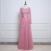 Floor Length Long Sleeve Bridesmaid Gown Wedding Party Dress Appliques Beading Sash A-Line Pleated Tulle Pink Bridesmaid Dresses