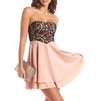 Lace Bust Layered Tube Dress: Charlotte Russe
