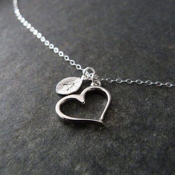 Personalized Heart Necklace, STERLING SILVER, Custom Necklace, Initial Necklace, Monogram, Heart Gift