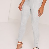 Missguided - Lace Up Front And Side Faux Suede Leggings Grey