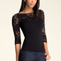 bebe Womens Aliane 3 4 Sleeve Lace Top